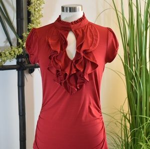 Free 2 Luv red top ruffled neck keyhole